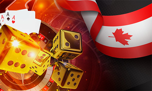 dice, canadian flag, roulette wheel, cards